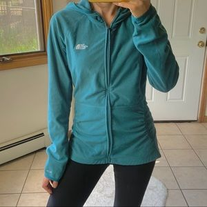 The North Face teal blue fleece hoodie jacket L